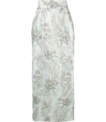 bambah long floral skirt - green