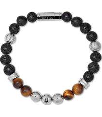 bulova men's tiger's eye (8mm) & black lava bead bracelet in stainless steel, j96b020m
