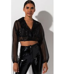 akira lets do this thing organza crop pullover
