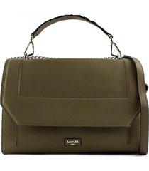 lancel khaki leather shoulder bag
