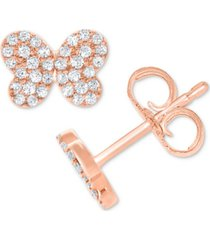 diamond pave butterfly stud earrings (1/5 ct. t.w.) in 10k white, yellow or rose gold