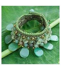 amazonite and prehnite wristband bracelet, 'dawn forest' (thailand)