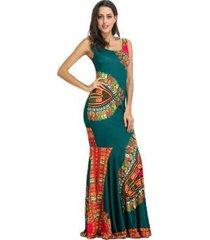 imprimir vestido sin mangas de playa delgado verde de las mujeres