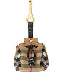 burberry vintage check bucket bag charm - brown
