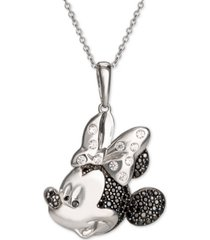 "disney cubic zirconia & black spinel minnie mouse 18"" pendant necklace in sterling silver"