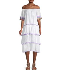 pitusa women's off-the-shoulder tiered dress - white - size standard (m-l-xl)