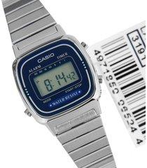 reloj casio la670wa-2 para dama plateado - azul lujoso
