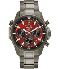 bulova men's chronograph marine star gray stainless steel bracelet watch 43mm