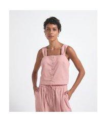 blusa regata com alça larga e botões frontais | marfinno | rosa | p