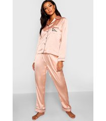 satijnen zzz pyjama set met knopen en broek, roségoud