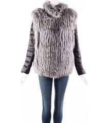 gorski gray fox fur down filled puffer convertible vest coat black/gray sz: l