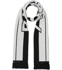 black and white logo cashmere scarf