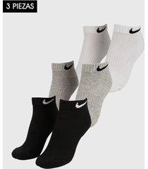 medias x3 negro-blanco-gris nike everyday cushion ankle