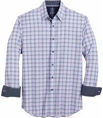 con. struct men's blue & pink check four-way stretch slim fit sport shirt - size: medium