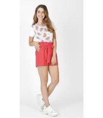 camiseta feminina melancia branca - feminino