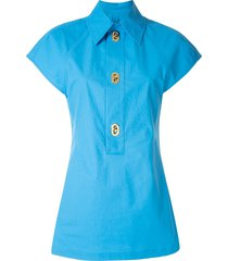 bottega veneta decorative buttons short-sleeve shirt - blue
