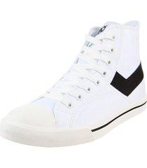 zapatilla blanca pony shooter hi canvas