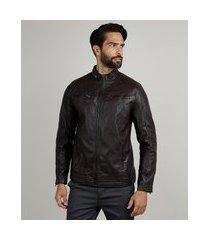 jaqueta masculina biker slim com bolsos vinho