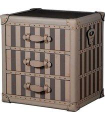 baú cômoda de madeira puri com 3 gavetas e alça de couro