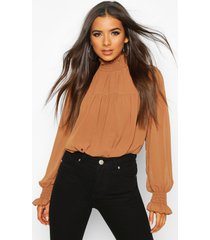 shirred neck cuff smock top, camel