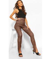 luipaardprint skinny fit broek met split, geelbruin