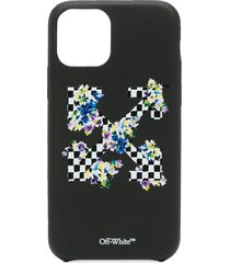 off-white check flowers iphone 11 pro case - black