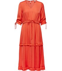 midi length dress with v-neck and ruffles jurk knielengte oranje scotch & soda
