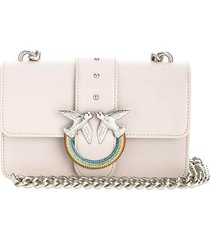 pinko love mini icon jewel cl light grey crossbody bag