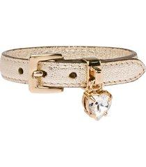miu miu madras leather bracelet with crystal - gold