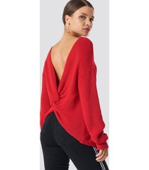 na-kd trend back twisted knitted sweater - red