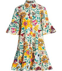 choux 3/4 sleeve ini floral dress