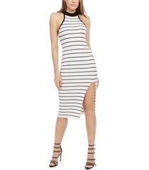 guess maia ribbed mock-neck bodycon dress