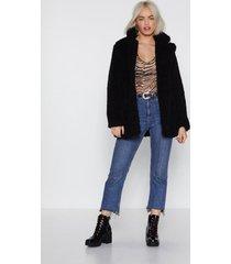 womens just fur you faux shearling coat - black 32