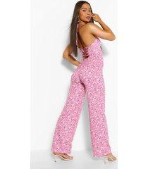 floral print strappy wide leg jumpsuit, pink