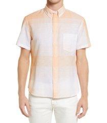 men's billy reid john plaid short sleeve shirt, size small - orange