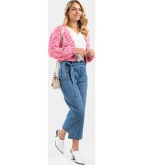 women's moe paperbag cropped jeans in denim by francesca's - size: 9
