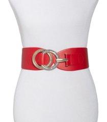 i.n.c. double-ring rhinestone interlock stretch belt, created for macy's