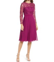 chi chi london athenia lace bodice long sleeve dress, size 6 in berry at nordstrom