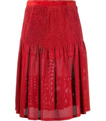 a.n.g.e.l.o. vintage cult 1980s perforated smocked waist skirt - red