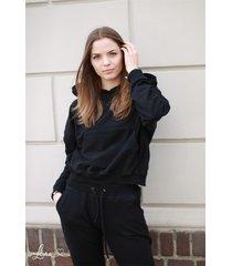 bluza dresowa z kapturem czarna lona