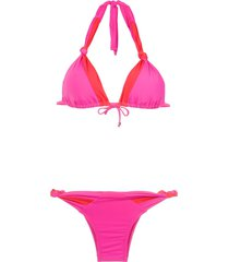 amir slama panelled bikini set - pink