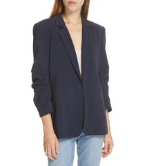 women's cinq a sept khloe ruched sleeve blazer, size 12 - blue