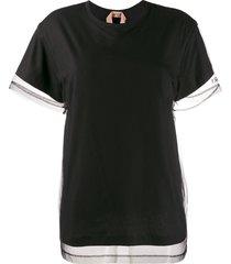 nº21 sheer stitched trim t-shirt - black
