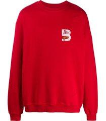 b-used chest logo sweatshirt - red