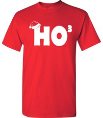 ho ho ho cubed  funny christmas xmas santa hat holiday men's tee shirt 652