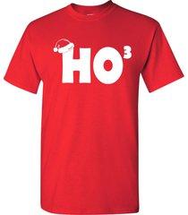 ho ho ho cubed  funny christmas xmas santa hat holiday men's tee shirt 652