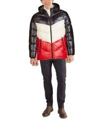 guess men's chevron quilt high shine parka jacket