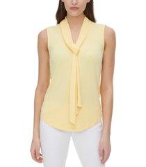 dkny sleeveless tie neck keyhole back blouse