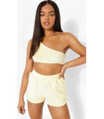 woman velours crop top en shorts set, lemon