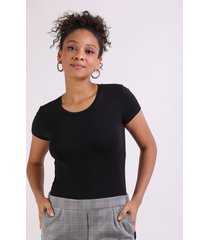 blusa feminina básica manga curta decote redondo preto